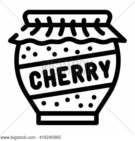 Cherry Jam Home Preservation Canned Food Line Icon Vector. Cherry Jam Home Preservation Canned Food