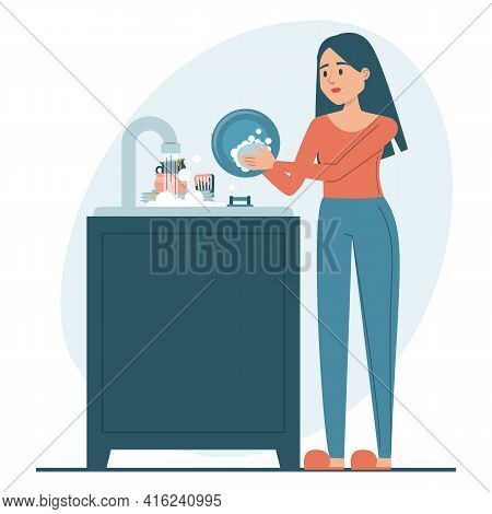 Woman Washing Dishes Vector Isolated. Everyday Routine