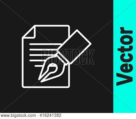 White Line Exam Sheet And Pencil With Eraser Icon Isolated On Black Background. Test Paper, Exam, Or
