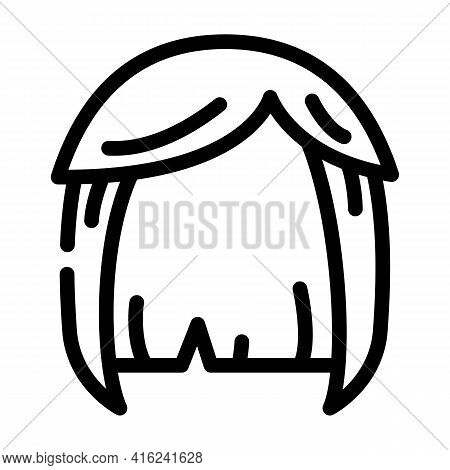 Wig Hair Line Icon Vector. Wig Hair Sign. Isolated Contour Symbol Black Illustration
