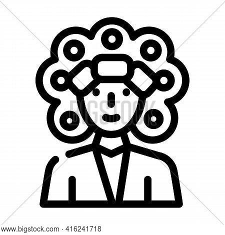 Perm Hair Line Icon Vector. Perm Hair Sign. Isolated Contour Symbol Black Illustration