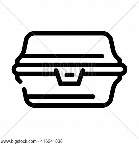 Paper Lunchbox Line Icon Vector. Paper Lunchbox Sign. Isolated Contour Symbol Black Illustration