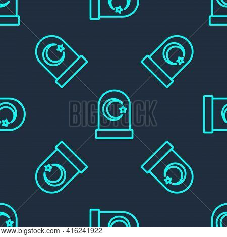 Green Line Muslim Cemetery Icon Isolated Seamless Pattern On Blue Background. Islamic Gravestone. Ve