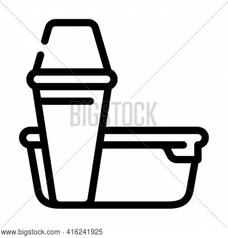 Thermos And Lunchbox Line Icon Vector. Thermos And Lunchbox Sign. Isolated Contour Symbol Black Illu