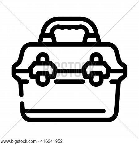 Vintage Lunchbox Line Icon Vector. Vintage Lunchbox Sign. Isolated Contour Symbol Black Illustration