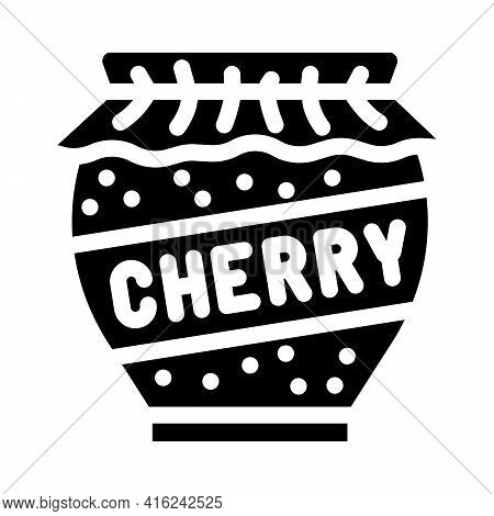 Cherry Jam Home Preservation Canned Food Glyph Icon Vector. Cherry Jam Home Preservation Canned Food