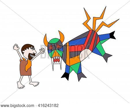 Fifth Labour Of Hercules, Erymanthian Boar In Style Of Primitivism, Minimalism, Children's Drawing F