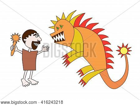 Hercules And The Nemean Lion Hand Draw Kids Design Male Character Fight With Wild Animal