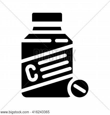 Vitamin C Glyph Icon Vector. Vitamin C Sign. Isolated Contour Symbol Black Illustration