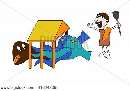 Sixth Labour Of Hercules, Augean Stables In Hand Draw Style Water Conquers Dirt Vector Illustration