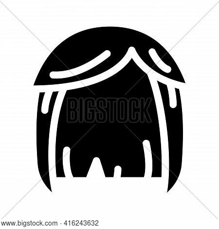 Wig Hair Glyph Icon Vector. Wig Hair Sign. Isolated Contour Symbol Black Illustration