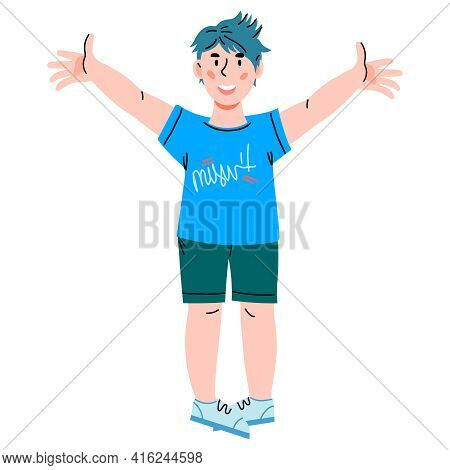 Happy Cheerful Little Boy Cartoon Character Smiling And Raising Hands, Flat Vector Illustration Isol