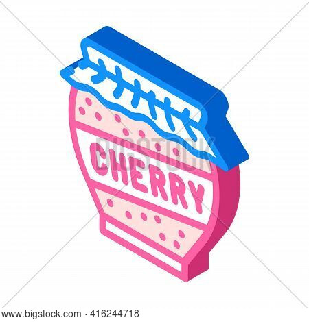 Cherry Jam Home Preservation Canned Food Isometric Icon Vector. Cherry Jam Home Preservation Canned