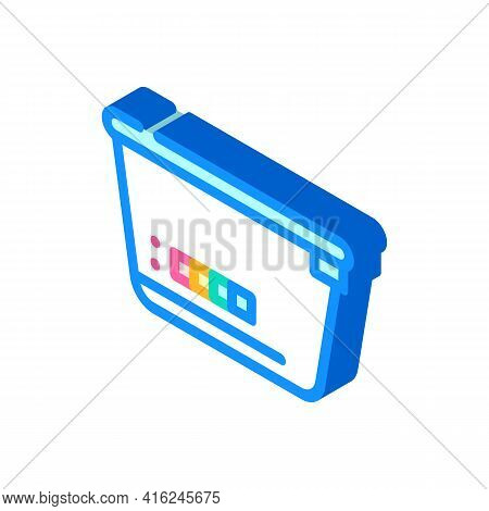 Lunchbox With Color Thermometer Isometric Icon Vector. Lunchbox With Color Thermometer Sign. Isolate