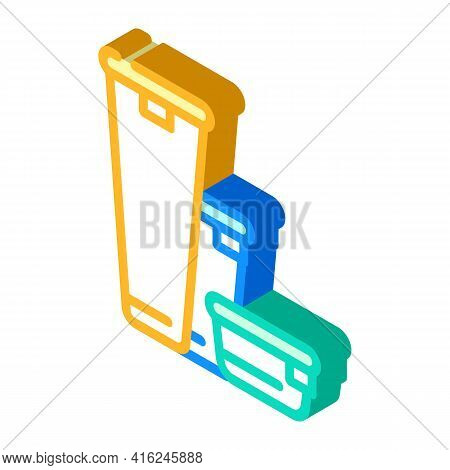 Various Height Of Lunchbox Isometric Icon Vector. Various Height Of Lunchbox Sign. Isolated Symbol I
