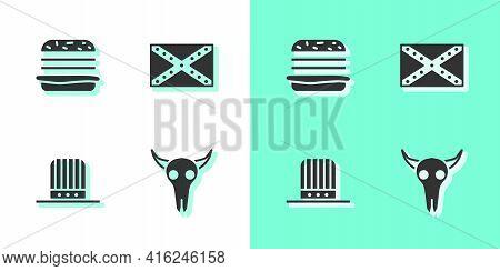 Set Buffalo Skull, Burger, Patriotic American Top Hat And Flag Confederate Icon. Vector