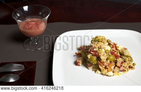 Salad Plate With Glass Of Andalusian Gazpacho