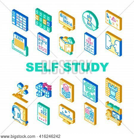 Self Study Lessons Collection Icons Set Vector. Self Study Audiobook And Video Lessons, Chess And Cr