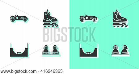 Set Snowboard, Vintage Sport Racing Car, Skate Park And Roller Skate Icon. Vector