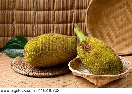 Young Jackfruit In A Bamboo Basket, Food Ingredient In Southeast Asia Cuisine