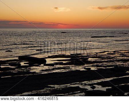 Sunset Over The Caspian Sea. 06 September 2019 Year. Mangistau Region.