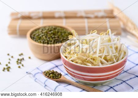 Fresh Mung Bean Sprouts And Mung Bean Seeds In A Bowl, Organic Vegetables And Food Ingredients In As