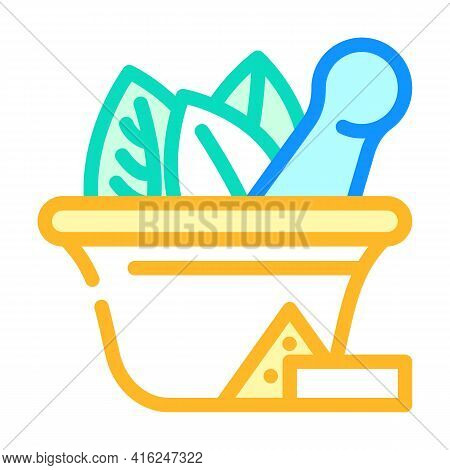 Bowl For Make Pills Color Icon Vector. Bowl For Make Pills Sign. Isolated Symbol Illustration