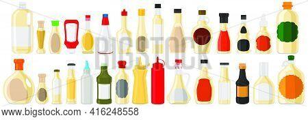 Illustration On Theme Big Kit Varied Glass Bottles Filled Liquid Sauce Tartar. Bottles Consisting Fr