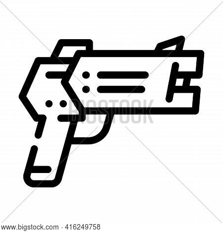 Stun Gun Protest Meeting Line Icon Vector. Stun Gun Protest Meeting Sign. Isolated Contour Symbol Bl