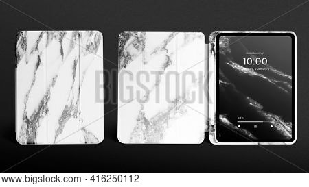 White marble tablet case with stylus holder