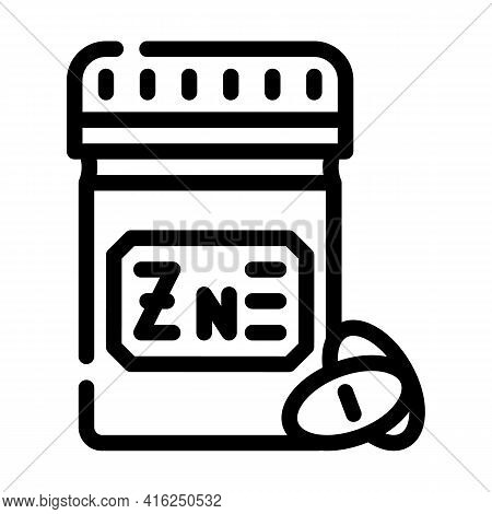 Zinc Pills Trace Elements Line Icon Vector. Zinc Pills Trace Elements Sign. Isolated Contour Symbol