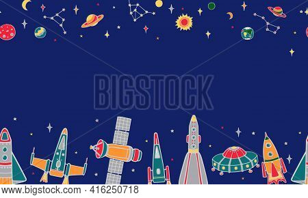 Various Cartoon Spaceships, Stars, Planets. Seamless Horizontal Colored Vector Pattern On A Blue Sky
