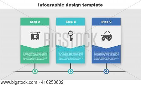 Set Street Signboard With Bar, Old Key And Wooden Four-wheel Cart. Business Infographic Template. Ve