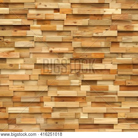 Wooden Tile Wall Made From Pieces Of Wood Scrap Texture Background