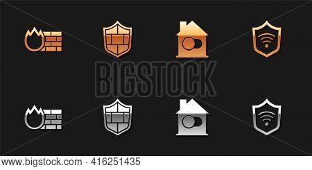 Set Firewall, Security Wall, Shield With Brick, Smart Home And Wifi Wireless Icon. Vector