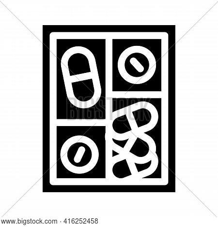 Pillbox Container Glyph Icon Vector. Pillbox Container Sign. Isolated Contour Symbol Black Illustrat