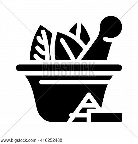 Bowl For Make Pills Glyph Icon Vector. Bowl For Make Pills Sign. Isolated Contour Symbol Black Illus