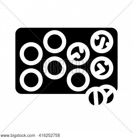Glister With Pills Glyph Icon Vector. Glister With Pills Sign. Isolated Contour Symbol Black Illustr