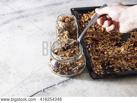 Homemade Muesli With Oats, Nuts And Seeds Close Up. Healthy Breakfast Concept.