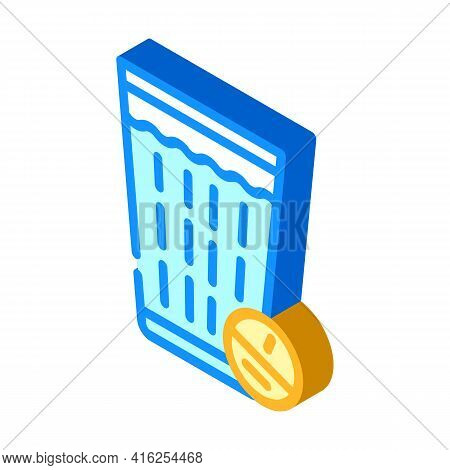 Glass Off Water With Tablet Isometric Icon Vector. Glass Off Water With Tablet Sign. Isolated Symbol