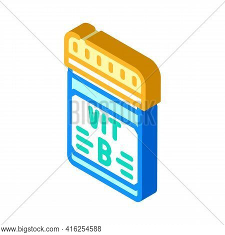 Vitamin B Package Isometric Icon Vector. Vitamin B Package Sign. Isolated Symbol Illustration