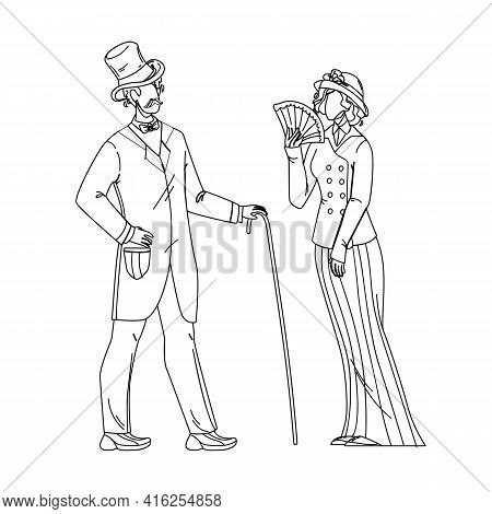 1900 Victorian People Lady And Gentleman Black Line Pencil Drawing Vector. Victorian Style Couple Ma