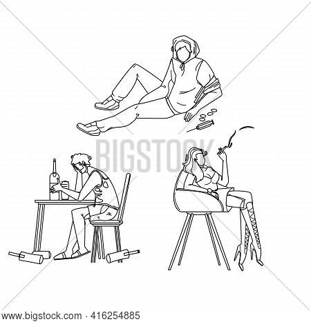 Alcohol, Smoke And Drug People Addiction Black Line Pencil Drawing Vector. Alcoholic Drunk Man, Junk