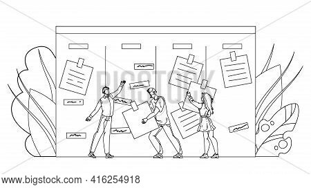 Businesspeople Agile Performing Job Tasks Black Line Pencil Drawing Vector. Men And Woman Workers Ag