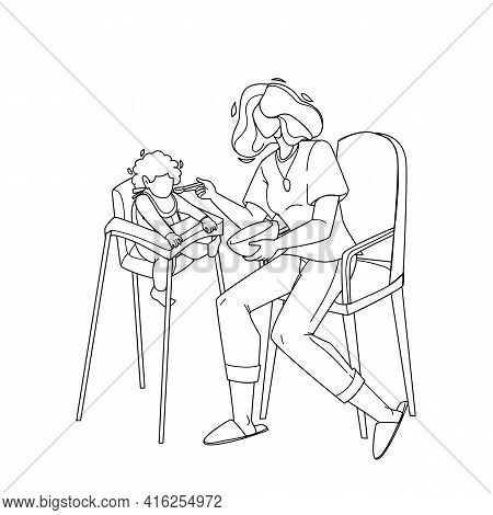 Baby Eating Food Breakfast With Appetite Black Line Pencil Drawing Vector. Mother Feeding With Spoon
