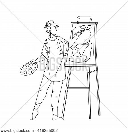 Artist Woman Painting Picture On Canvas Black Line Pencil Drawing Vector. Young Girl Artist Drawing