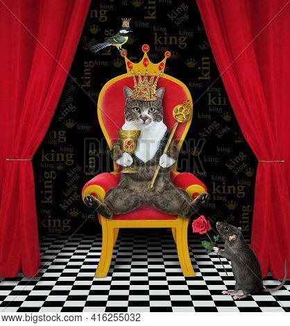 A Colored Cat In A Gold Crown Holds A Scepter And A Goblet In A Red Throne.
