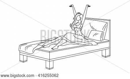 Woman Awake Morning In Comfortable Bed Black Line Pencil Drawing Vector. Young Girl Awake From Healt