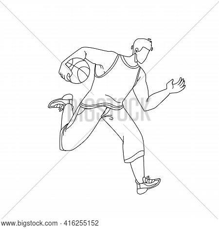 Basketball Player Man Running With Ball Black Line Pencil Drawing Vector. Basketball Game Playing Yo