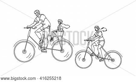 Bicyclists Family Riding Together In Park Black Line Pencil Drawing Vector. Bicyclists Mother And Fa